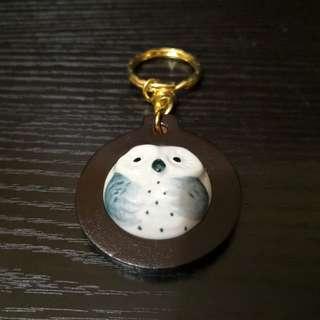 Owl keychain porcelain