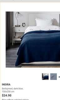 IKEA INDIRA Bed Spread Navy Blue 150 x 250cm