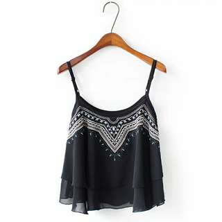 Embroidery Spag Top