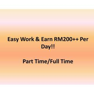Part Time / Full Time - Easy Work & Daily Income