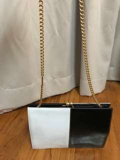 Rare vintage Ferragamo clutch with gold plated chain