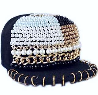 Black Embellished Pearl Studded Cap Hat