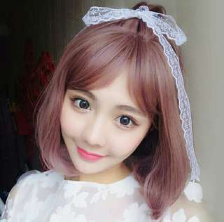 Full Head Bobo Hair Wig Short Ash Purple /Pink /Brown