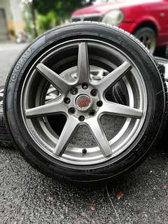 Vossen cv7 15 inch sports rim saga flx tyre 95%. *mora mora kasi you happy*