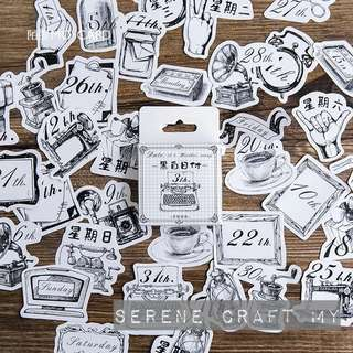 Set of 45pcs Black & White Vintage Planner Sticker Pack