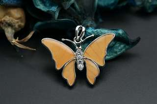 Navia Jewelry Real Butterfly Wing Salamis cacta Silver Pendant Korea