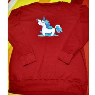 Plus size! Unicorn Red long-sleeved T-shirt / T-shirt Dress