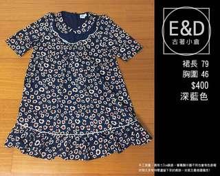 🚚 E&D古著小倉-深藍色花卉雪紡洋裝