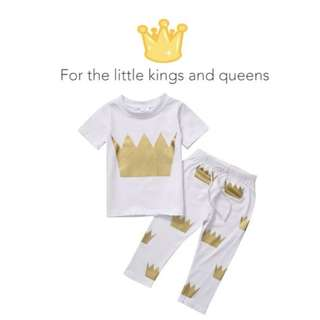 🌟INSTOCK🌟 2pc Crown King Queen Short Sleeves Top & Pants Set Kids Toddler Clothing for boys and girls
