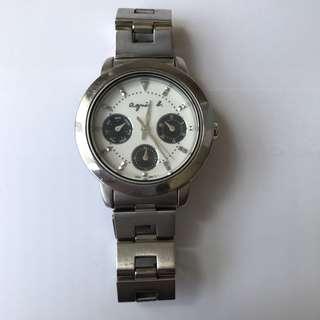 正品 Agnes b 女裝經典三環防水鋼手錶 白色底黑色圈銀色金屬錶帶 名牌表
