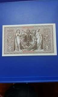 1910年德國紙弊 好靚好有立體感紙幣,紙文凹凸紋好青色可見UNC全新直版,好直得收藏