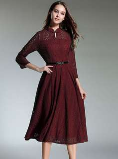 Long-Sleeve: Wine Red Retro Stand Collar Lace Long Dress (S / M / L / XL) - OA/YYE031918