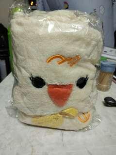 🆕淺黃色小雞毛巾毛毯