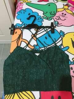 墨綠色/杏色交叉棉布短身上衣
