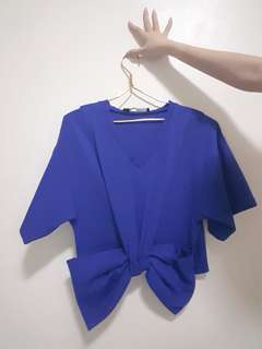 electric blue big bow top