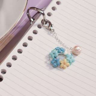 crochet flower planner charm and planner clip - planner flower accessories