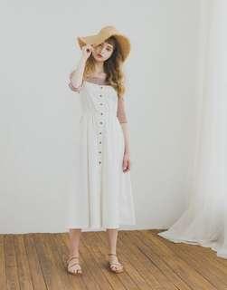 🚚 全新 Pazzo 排釦縮腰田園感洋裝 白色 S