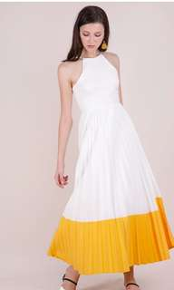 The tinsel rack ttr abe colourblock maxi in sunshine yellow and white