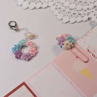 crochet flower planner charm and planner clip - planner flower accessories for your wedding planner
