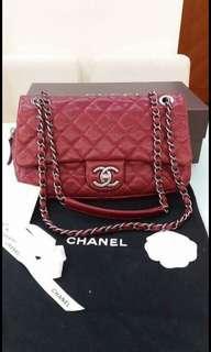 Chanel 25.5 cm 荔枝皮 classic flap bag CC logo
