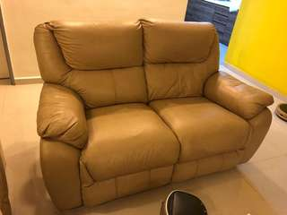 Half leather 2 seater recliner sofa