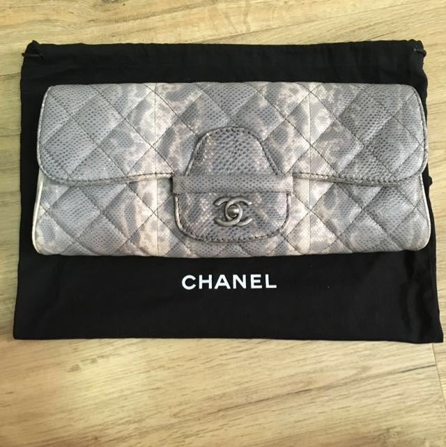 59bd4e87a90 Authentic Chanel Python-like Calf Skin Clutch Bag, Luxury on Carousell
