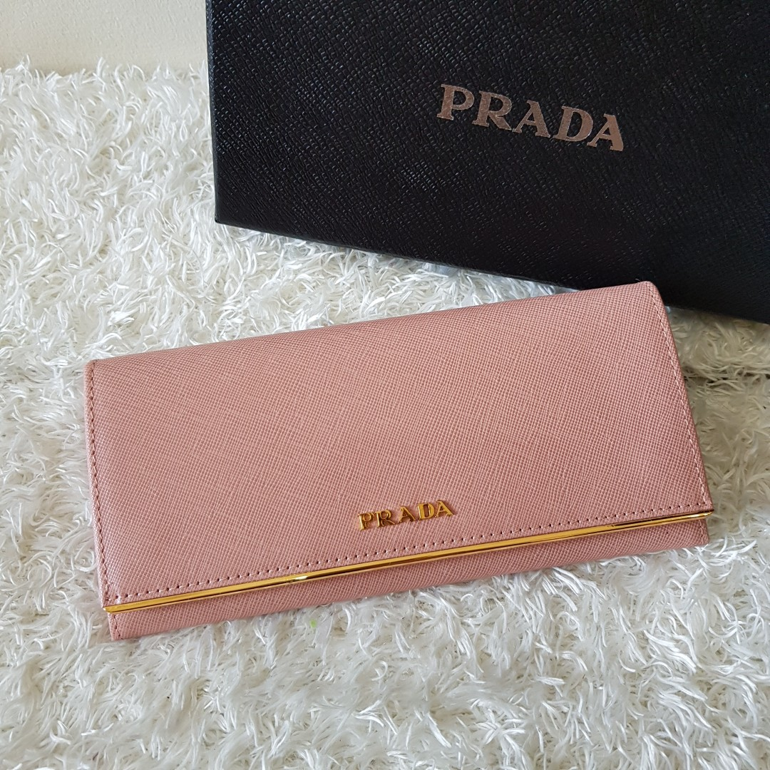 6f68fb2f152f ... spain authentic prada saffiano leather flap wallet with metal bar  detail 1mh132 preloved womens fashion bags