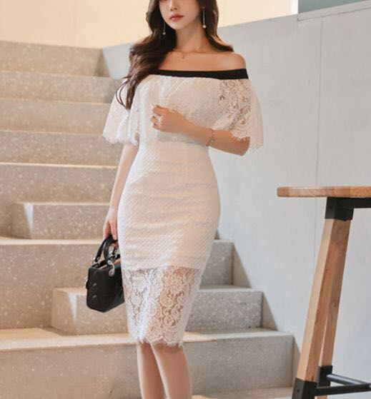 Clothing Dress Akd0004 Korean Style Off Shoulder White Dress