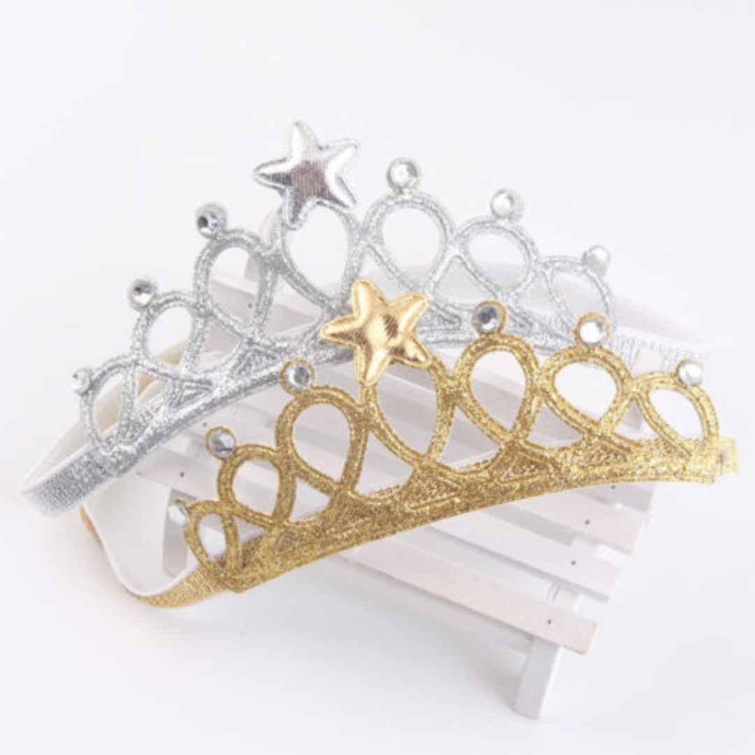 Princess Crown Headwear Headbands Bow Baby Girls Kids Accessories Hair