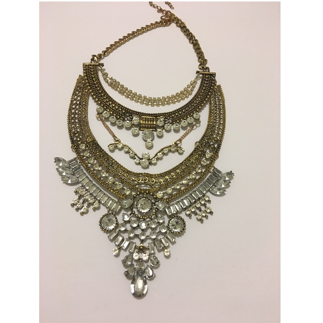 Gold Tone Statement Necklace/ Price Marked Down