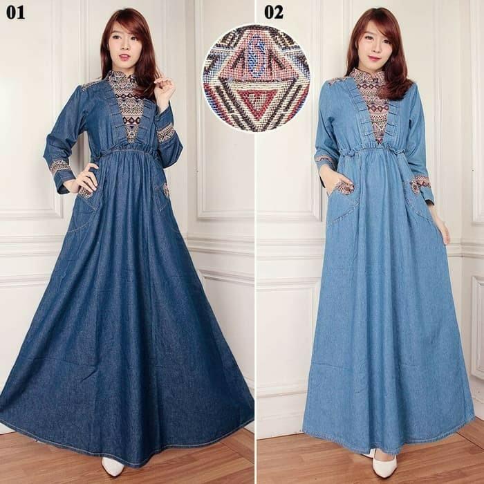 HLY dress maxi gamis Aretha l atasan fashion baju muslim gamis jeans gamis denim gamis etnik