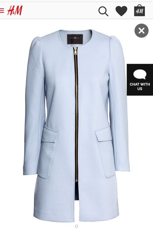 h m light blue coat women s fashion clothes on carousell
