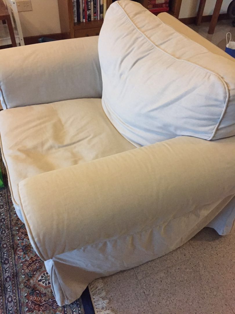Ikea Ektorp Chair With Beige Cover Furniture Tables Chairs On