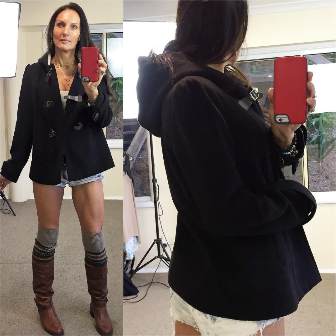 IMPULSE BLACK fleece HOODIE JACKET 10 short duffle coat BELT BUCKLE CLOSURE xcon