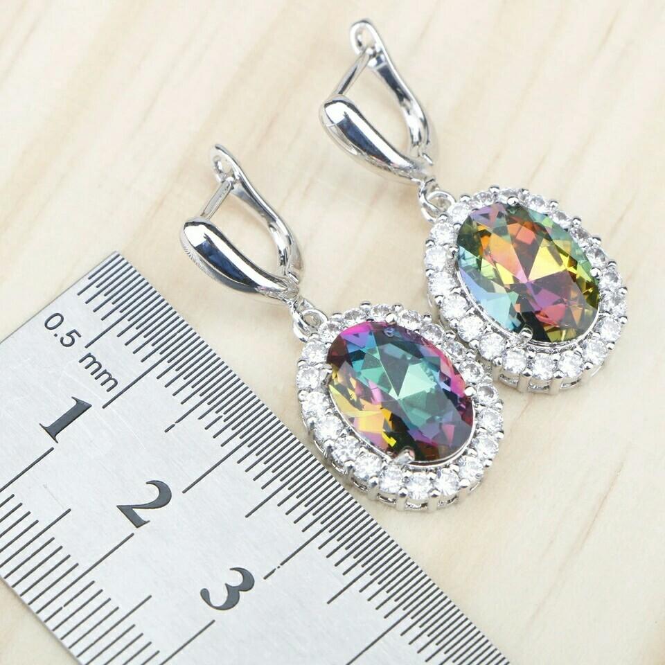Mystic Rainbow Zircon 925 Silver Costume Bridal Jewelry Sets Women Earrings Rings Pendant Necklace Bracelets Set Gift Box