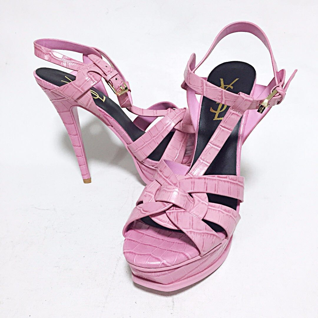 088da44c4d80 ... france nwob ysl yves saint laurent paris tribute pink croc embossed heels  sandals 39 9 luxury