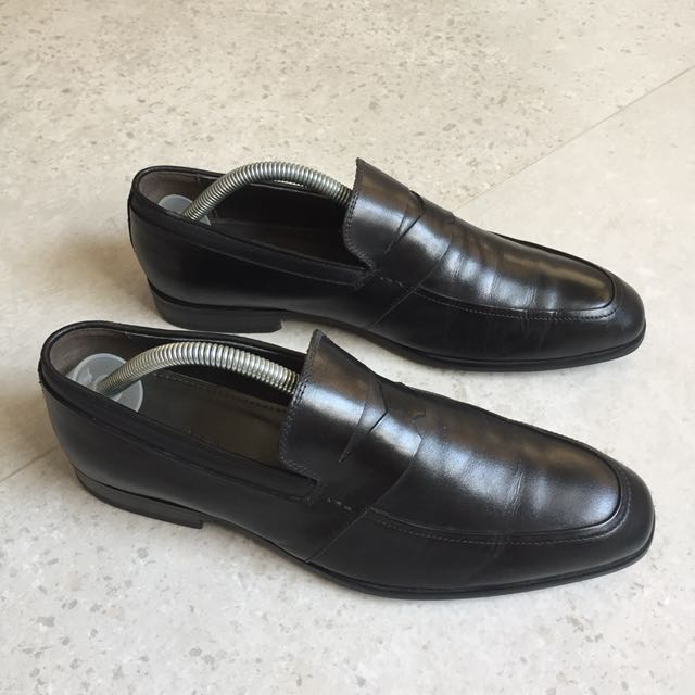 49e56ac6f571 Pedro Men s Black Burnished Calf Leather Penny Loafers