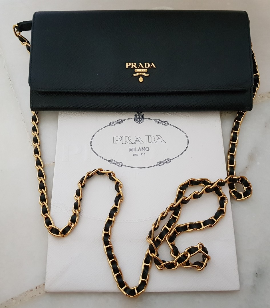 c8d14b5f713c72 ... discount code for prada 1mt290 vitello move leather long fold wallet on  chain black luxury bags