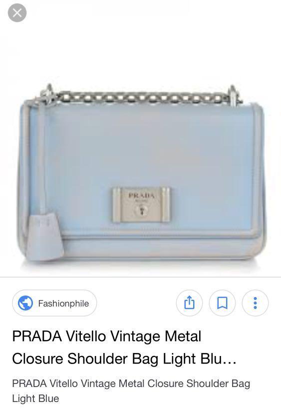 75263118be PRADA Vitello Vintage Metal Closure Shoulder Bag Light Blue