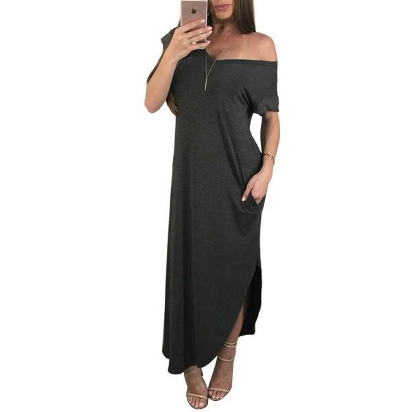 6e6f2b264017 RCEFG051943 - Plain Off Shoulder Maxi Dress