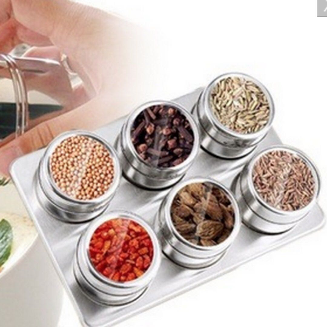 SHOPPY STAINLESS STEEL MAGNETIC SPICE CONTAINERS WITH RACK (7PCS)