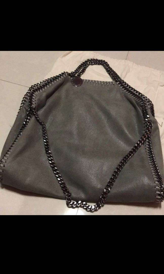 8eb9685e46cc1 Stella McCartney Light Grey Falabella Shaggy Deer Fold Over Tote ...