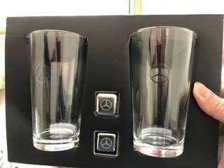 🚚 賓士玻璃對杯+冰塊組