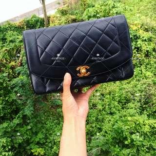 (SOLD)Chanel Vintage 黑色羊皮 Diana Bag 25cm
