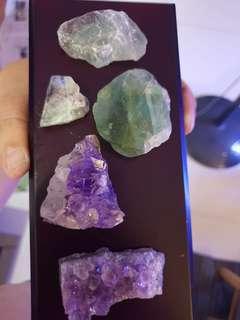 Amethyst and Raw Flourite Crystal 紫晶片和天然萤石