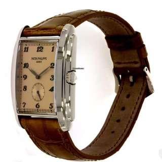 Patek Philippe GONDOLO 5124G-001 / 18K WHITE GOLD / ROSE DIAL   (百達翡麗GONDOLO 5124G-001 / 18k白金 /復古玫瑰錶盤皮革男士手錶)