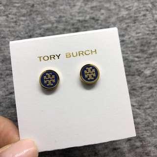 Tory Burch Earrings 藍色配金色圓形Logo 耳環