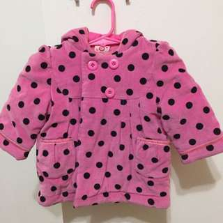 Baby girl winter jacket coat pink dots 12 months USA