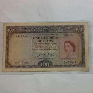 Malaya $100 1953 Qeii