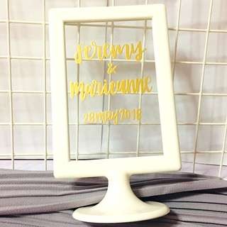 Glass Customised stand customisable stands wedding weddings deco decoration decor Boyfriend Girlfriend reception present presents gift gifts Friend friends party birthday farewell office table couple monthsary embossed graduation calligraphy